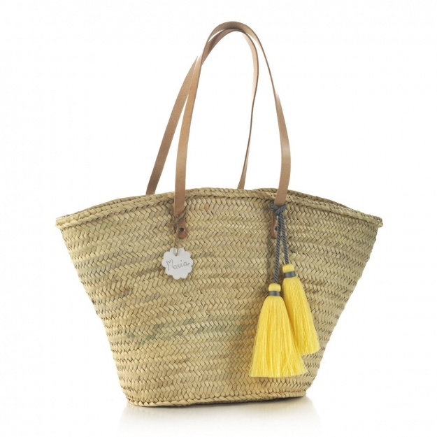 PALM BEACH BASKET TASSEL YELLOW 30x50x40 CM