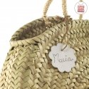 HANDLE BAG RATTAN SMALL TASSEL AZULON 10x30x35 CM