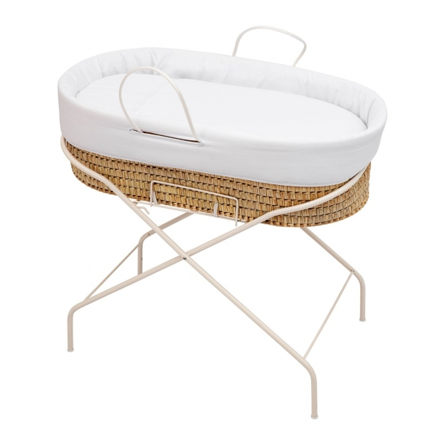 SET QUILTED BASKET+METAL STAND PIQUE WHITE 48x85x77 CM