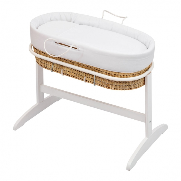 ST.QUILTED BASKET+WOODEN STAND PIQUE WHITE 48x85x79 CM