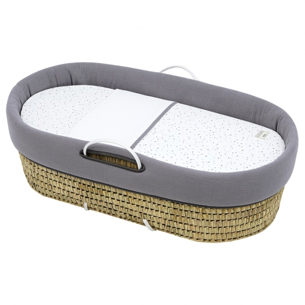 QUILTED BASKET UNE ASTRA GREY 39x80x25 CM