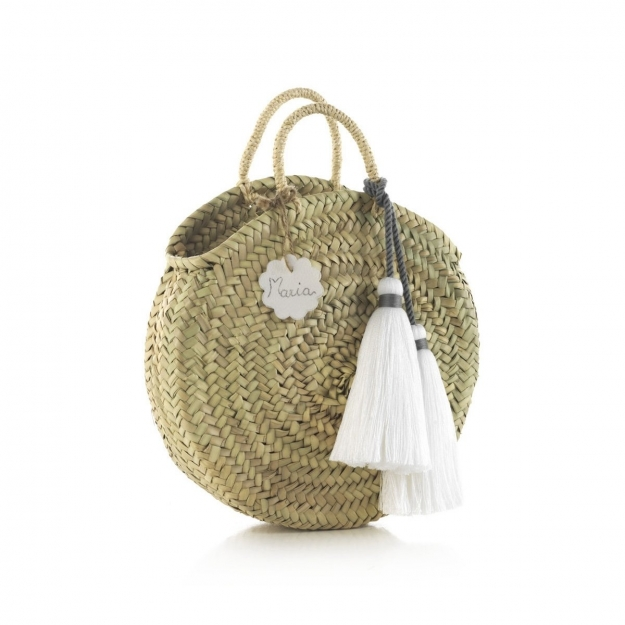HANDLE BAG RATTAN SMALL TASSEL WHITE 10x30x35 CM