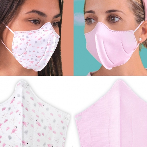 HIGYENIC MASK DELUXE 2 UN. FLAMENCOS WHITE/PINK