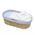 QUILTED BASKET UNE SKY BLUE 39x80x25 CM